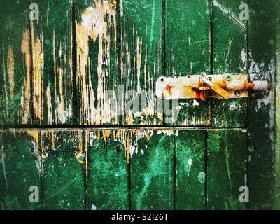 Peeling green paint and bolt lock on an old farm door - Stock Photo