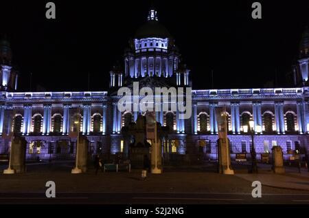 Belfast City Hall, Northern Ireland at night - Stock Photo