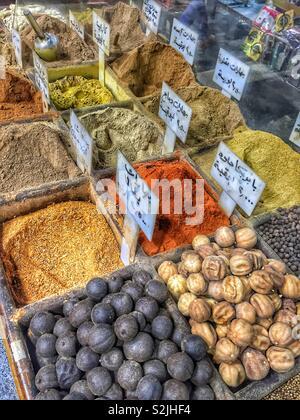 Spices on the market in Amman, Jordan - Stock Photo