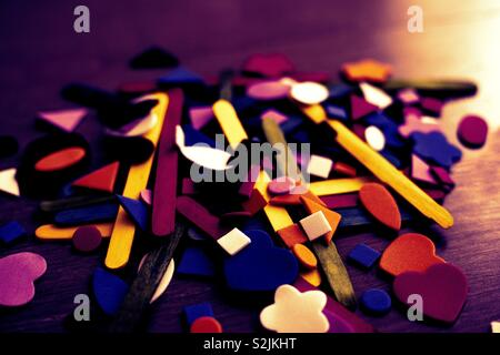 Crafting coloured set. Wooden floor. Abstract photography. - Stock Photo