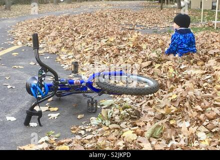 5 years old boy child playing in a pile of fallen autumn leaves his bike next to him on the ground - Stock Photo