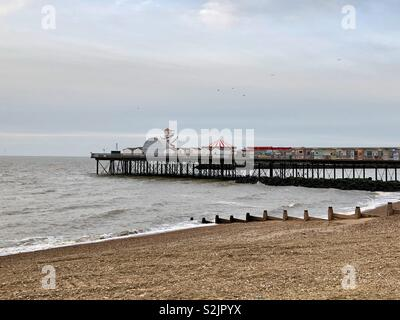Pier and shoreline on a blustery day, Herne Bay, Kent