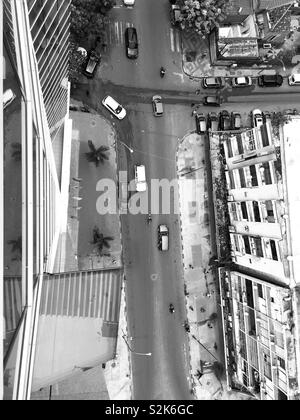 Beautiful aerial view. Luanda , Angola downtown in black and white - Stock Photo
