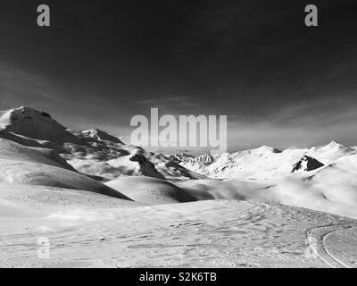 Alpine slopes in Davos, Switzerland - Stock Photo
