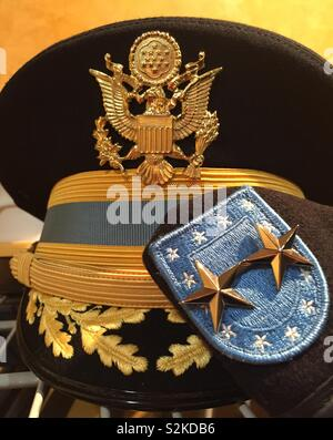 Still life of United States Army field grade officer's caps, USA - Stock Photo