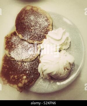 Pancakes and ice cream - Stock Photo