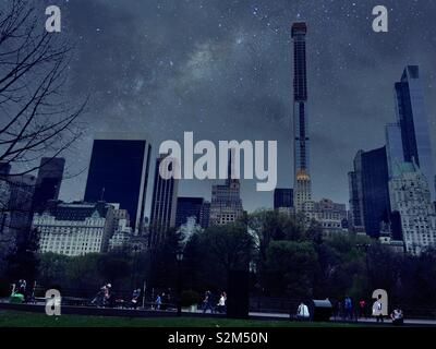 An evening skyline  of midtown Manhattan featuring super tall buildings on Central Park South, NYC, USA - Stock Photo