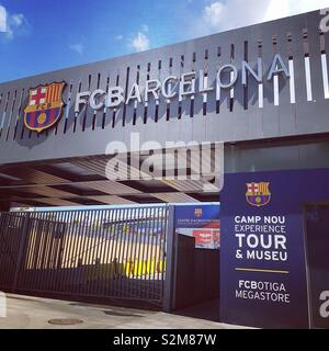 One of the entrances to the Nou Camp, home of Barcelona FC - Stock Photo