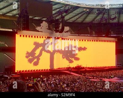 U2, The Joshua Tree Worldwide Tour, commemorating the 30th anniversary of their 1987 album The Joshua Tree. Twickenham, London, UK, 8th July 2017. - Stock Photo