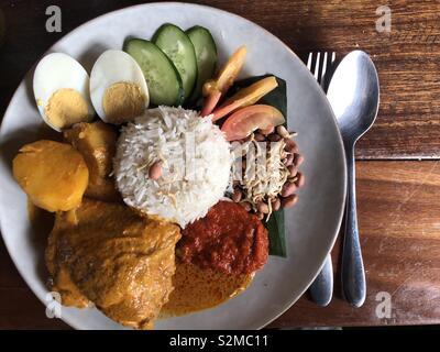 Overhead shot of Malaysian traditional nasi lemak - Stock Photo