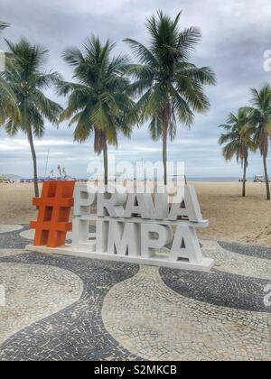 Copacabana Beach in Rio de Janeiro, Brazil. - Stock Photo