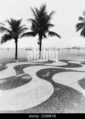 Copacabana Beach in black and white. - Stock Photo