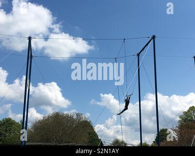 Trapeze artist silhouette in park - Stock Photo
