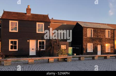 Sunset on fisherman's cottages, Leigh on Sea, Essex, UK - Stock Photo