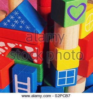 Children's wooden building blocks. - Stock Photo
