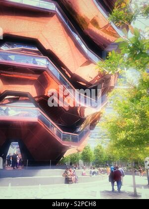 Tourists at the vessel structure in Hudson yards, NYC, USA - Stock Photo
