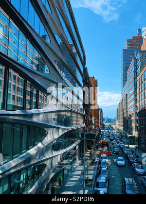 View of modern architecture building and street below the high line park in New York City. April 2019 - Stock Photo