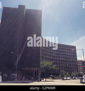 The Robert C. Weaver Federal Building, headquarters of the United States Department of Housing and Urban Development (HUD.) Completed in 1968, it displays the Brutalist architectural style. - Stock Photo