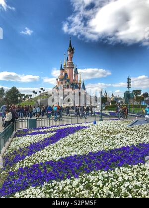 Sleeping beauty Castle - Fairy take castle Disney Land Paris France - Stock Photo