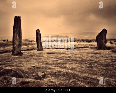 Machrie Moor Stone Circles, Arran - with vintage effect. - Stock Photo