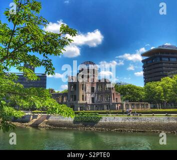 Atomic bomb Dome in Hiroshima, Japan, Peace Memorial. Remains of the Industrial Promotion Hall from 1945 atomic bomb attack - Stock Photo