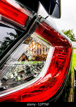 Close up of a Honda Civic Type R rear light cluster - Stock Photo