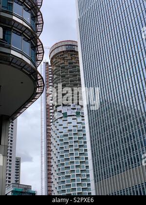 London, UK - 15th June 2019: Canary Wharf skyscrapers. - Stock Photo