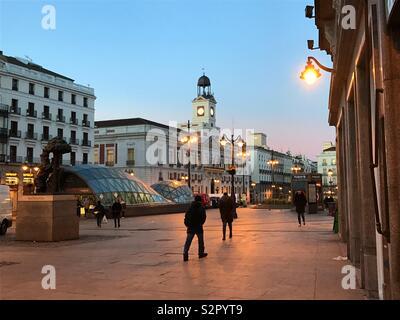 Puerta del Sol, night view. Madrid, Spain. - Stock Photo