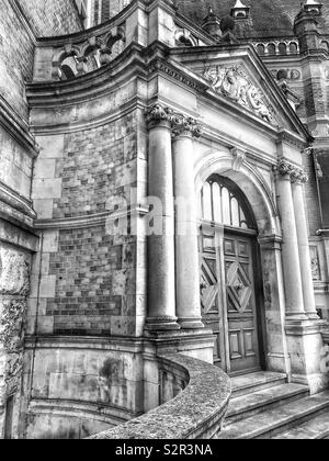 Detail of the elaborate Victorian architecture of the entrance to a civic building in London, England. - Stock Photo