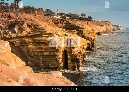 View of the Pacific Coast off the California Coast at Sunset cliffs Natural Park near La Jolla Beach and San Diego.