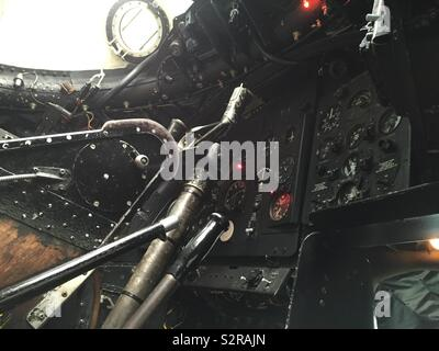 Inside a Canberra aircraft cockpit - Stock Photo
