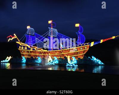 Galleon and mermaids at Festival of Light,Longleat - Stock Photo