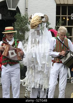Morris dancer group at Warwick Folk Festival - Stock Photo