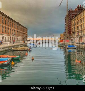 Sunset on Canal Grande. Trieste, Italy. - Stock Photo