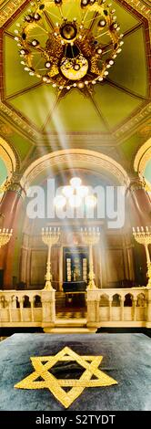The interior of the beautiful synagogue in Sofia, Bulgaria. - Stock Photo