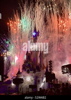Disneyland Paris Fireworks - Stock Photo