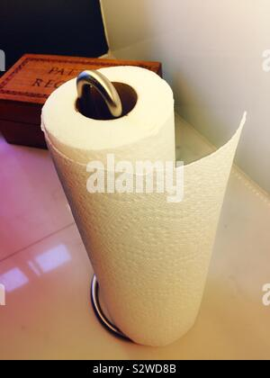 Paper towels on a metal spindle holder on a residential kitchen counter, USA - Stock Photo