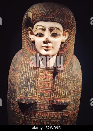 An inner anthropoid coffin displayed in the Egypt wing of the Metropolitan Museum of Art, NYC, USA - Stock Photo