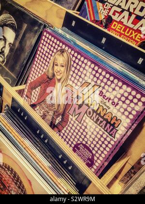 The best of Hannah Montana vinyl record is in a display for sale in midtown Manhattan, NYC, USA - Stock Photo