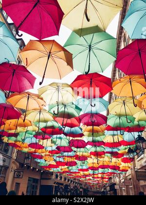 Umbrella Sky Project installation by Patricia Cunha in Paris, 2019 - Stock Photo