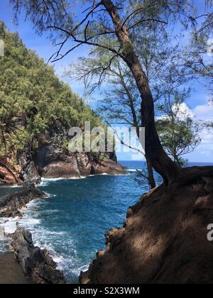 Red Sand Beach. Hana Maui - Stock Photo