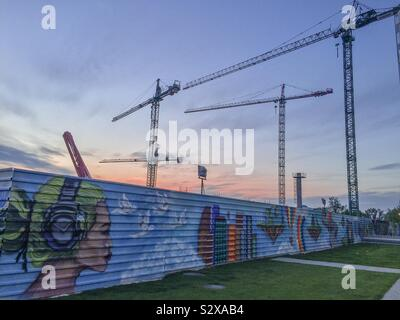 Street art in a construction area, Bucharest, Romania, Eastern Europe - Stock Photo