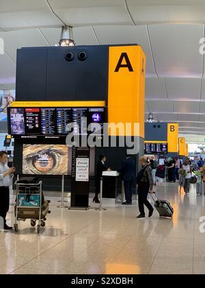 London, UK - 21 September 2019: Departure zones at Heathrow airport Terminal 2. - Stock Photo