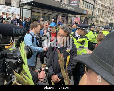 George Monbiot after being arrested at an Extinction Rebellion protest in London 16th October 2019 - Stock Photo