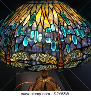 Tiffany Lamp with Dragonfly Pattern - Stock Photo