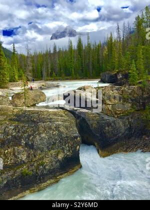 Kicking Horse River and the natural bridge, Yoho National Park, British Columbia, Canada - Stock Photo