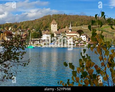 Spiez on Lake Thun, Switzerland - Stock Photo