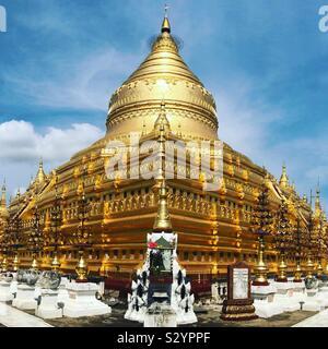 The Golden Stupa in Bagan, Myanmar. - Stock Photo