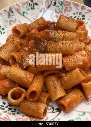 Mezze maniche all'amatriciana, typical dish from the town of Amatrice, Lazio region, Italy - Stock Photo