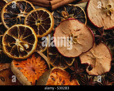 High angle view of various dried fruits - Stock Photo